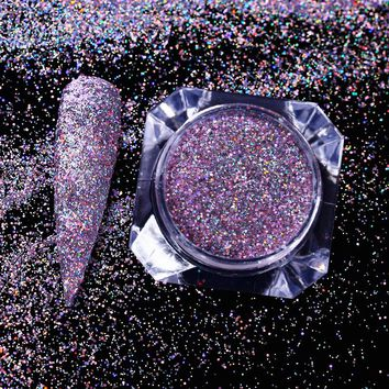 Holographic Purple Nail Glitter Holo Laser Shining Sequins Powder Pigment Paillettes Manicure Nail Art Decorations