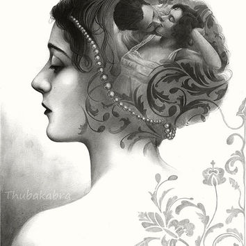 A romantic vintage girl art with pattern - PRINT of  an original graphite pencil drawing - vintage art by Thubakabra - graphite art