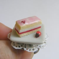 Scented Strawberry and Cream Pastry Miniature Food Ring - Miniature Food Jewelry