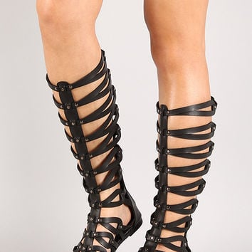 Roma-10 Studded Gladiator Knee High Flat Sandal
