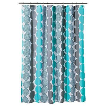 Room Essentials Circle Shower Curtain - Turquoise/Gray 72 X 72 Fabric