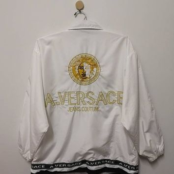 A.Versace Jacket Medusa Embroidery Gold Big Logo Spell Out Side Tape