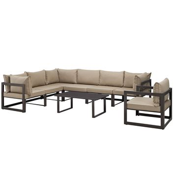 Fortuna 8 Piece Outdoor Patio Sectional Sofa Set Brown Mocha EEI-1736-BRN-MOC-S