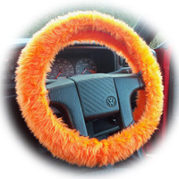 Tangerine faux fur Orange Fuzzy car steering wheel cover fluffy and furry car accessories