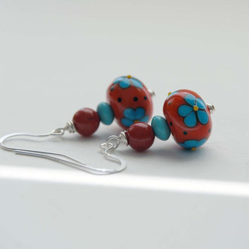 Red Earrings, Flower Earrings, Lampwork Glass Earrings, Beaded Earrings, Turquoise Blue Flower Earrings