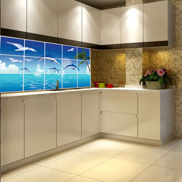 1Pc Waterproof Bathroom  Kitchen Tile Aluminum Foil Wall Sticker Home Decor Wall Sticker Dolphin Fish Beach Ocean