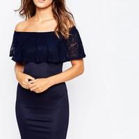Club L Essentials Body-Conscious Dress with Lace Bardot Detail