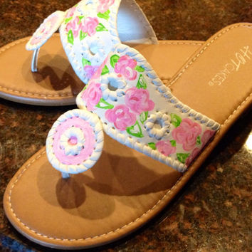 Hand painted sandals inspired by the style of Jack Rogers and painted with a Lilly Pulitzer like design.