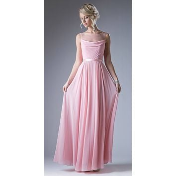 Illusion Cowl Neckline A-Line Long Formal Dress Cut Out Back Blush