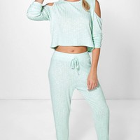 Zoe Rib Knit Cold Shoulder And Jogger Set