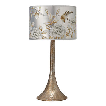 Jamie Young Company 1HAMM-TLPL-2HPDRUM-CLPL Hammered Metal Platinum One-Light Title 24 Table Lamp with Classic Hand Painted Drum Shade