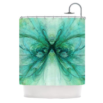"Alison Coxon ""Butterfly Blue"" Green Black Shower Curtain"