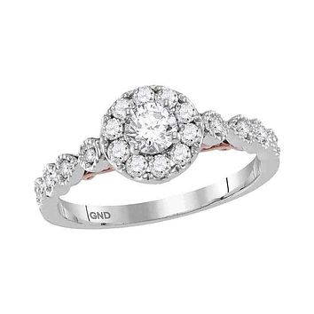 14kt Two-tone White Rose Gold Women's Round Diamond Solitaire Bellina Bridal Wedding Engagement Ring 3/4 Cttw - FREE Shipping (US/CAN)