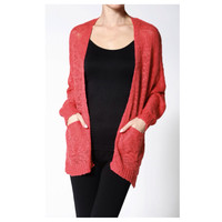 Comfy Cozy Slubby Knit Coral Sweater Cardigan