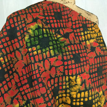 Kenyan Batik Fabric--African Batik Print Fabric--Dark Orange, Yellow, and Green/Grids and Leaves--African Fabric by the HALF YARD