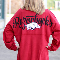 Arkansas Razorback Jersey with Glitter Hog {Red}
