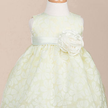 Floral Organza Baby Dress with Hand-Rolled Rosette