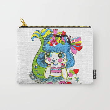 Happy Girl Mermaid Carry-All Pouch by Christina Siravo
