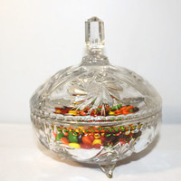 Pressed Glass Covered Candy Dish, Footed Etched Serving Bowl with Lid