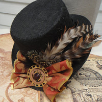 Steampunk Hat - Little Black Top Hat - Sprockets and Gears Pheasant and Grizzly Striped Feathers Brocade and Velvet