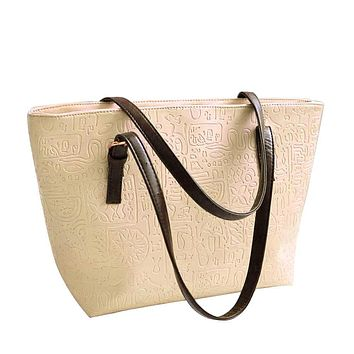 Handbags Real New Simple Larger Capacity Pu Band Messenge Shoulder Bag Tote