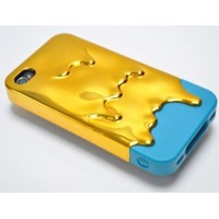 GOLD BLUE 3D Melting Ice-Cream Electroplating Cyan Cover Case for iPhone 4 4S