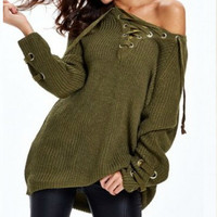 LACE ME UP OVER-SIZED SWEATER, Olive