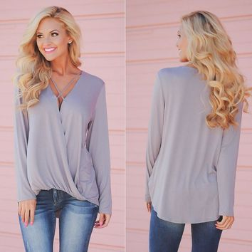 Women Casual Top Chiffon Loose Long Sleeve Blouse Shirt Blouse Tops New