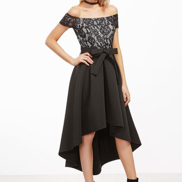Black Lace Off Shoulder High Low Dress