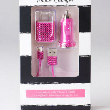 PINK GLITTER IPHONE 5 CHARGER SET