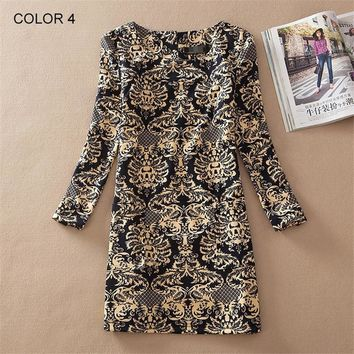 2017 Spring Fall Fashion Women Plus Size loose retro  Floral Print Long Sleeve A-Line Dress Casual hit colors 20 kinds Vestidos