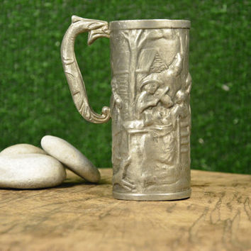 Vintage German Tin Mug Inlaid, German Pewter Cup, Etain 94%, Large Vintage Pewter Cups, Gift for Collectible