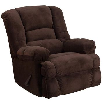Contemporary Dynasty Chocolate Microfiber Rocker Recliner
