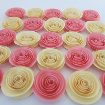 "Pink and Ivory Paper flowers, 25 piece set, 1.5"" roses, Valentines day party cupcake topper wedding decorations, bridal shower decor romance"