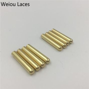 Weiou 4pcs 1 Set Of 3.8x22mm Seamless Metal Shoelaces Tips Head Replacement Repair Aglets DIY Sneaker Kits Silver Gold Black