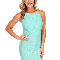 Night Of Your Life Mint Lace Scallop Bodycon Dress | Monday Dress Boutique