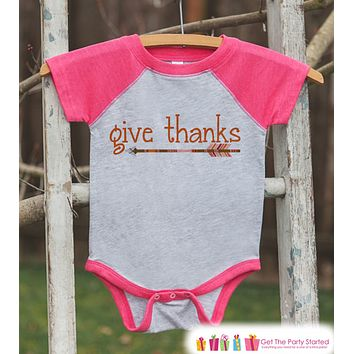 a46b71630 Kids Give Thanks Shirt - Orange Arrow Thanksgiving Outfit - Girl