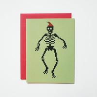 8 Bit Santa Skeleton Card, geek holiday christmas cards