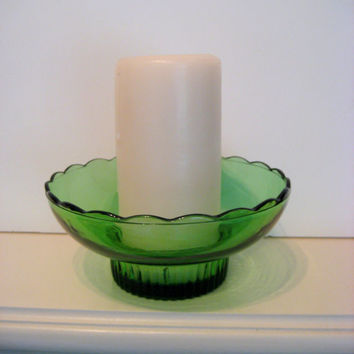 Vintage Emerald Green Glass Candle Holder, Candy Dish, bowl, floral display, wedding display