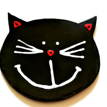 Black Cat Ceramic Plate Smily Face Pottery Dish Eco Friendly Spoon Rest Kitchen Decoration Recycled Paper Box