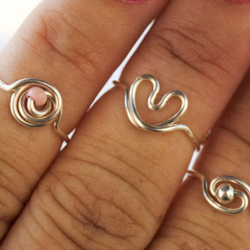 Adjustable Wire Wrapped Knuckle or Toe Rings Set by KissMeKrafty