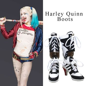 Harley Quinn Cosplay Boots Shoes Joker Costume High Heel Boots