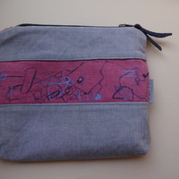 Grey Pink Hand Painted  Clutch Bag, Small pencil Case,,Makeup Bag, Unique Bag Organizer