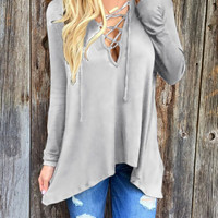 Gray Plunge Lace Up Front Long Sleeve Hooded T-shirt