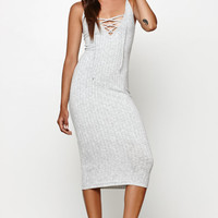 Honey Punch Ribbed Lace-Up Midi Dress at PacSun.com