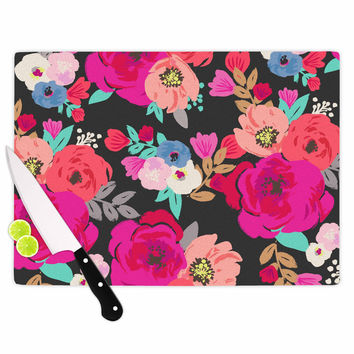 "Crystal Walen ""Sweet Pea"" - Black Floral Cutting Board"