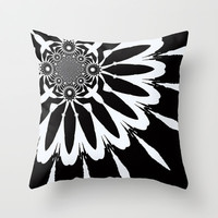 Black & White Flower Petals Throw Pillow by 2sweet4words Designs | Society6