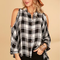 Plaid Cold Shoulder High-Low Top White