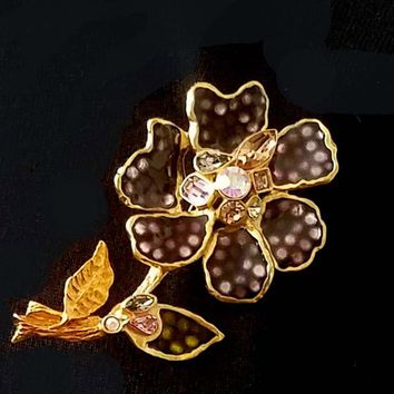 Gorgeous brooch CHRISTIAN LACROIX, fully glazed flower vintage
