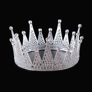 Snuoy Full Round Pageant Crown Wedding Tiaras Rhinestone Queen Crown for Brides 4 Colorways Dropshipping Accept